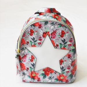 Handbags - Gray & Red Rose Plastic Star Window Mini Backpack